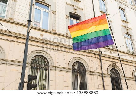 Rainbow Flag At Pride 2016 In Milan, Italy