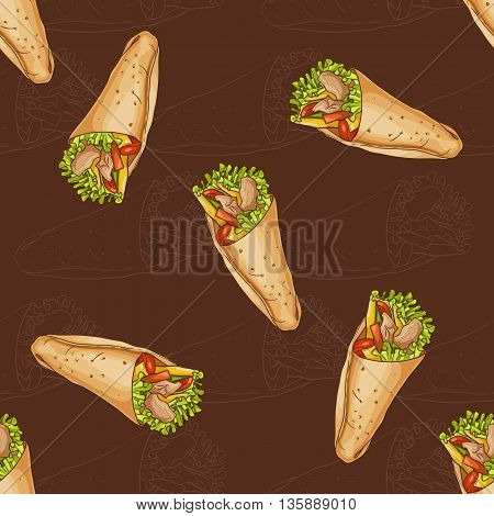 Seamless pattern scetch and color burrito on dark background. Tasty Mexican Burrito