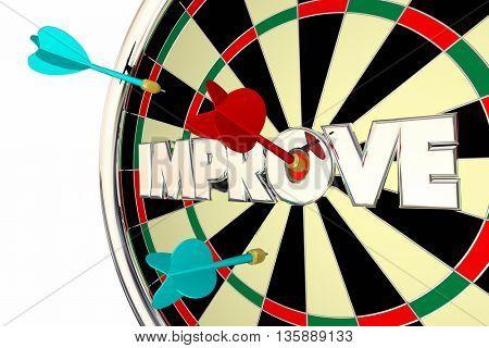 Improve Get Better Word Dart Board 3d Illustration