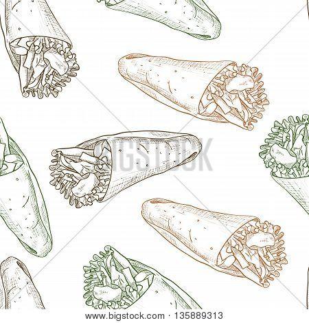 Seamless pattern burrito scetch. Tasty Mexican Burrito