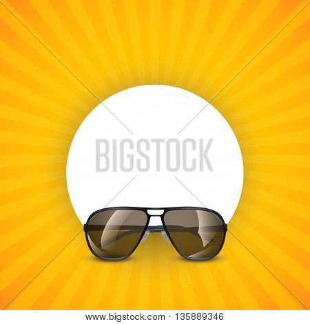 illustration of sunglasses on yellow background with round blank