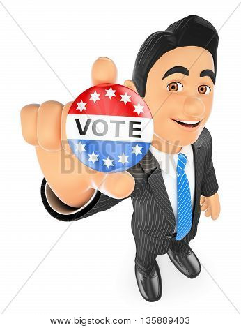 3d business people illustration. Businessman with a vote badge. Isolated white background.