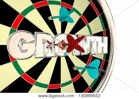 Growth Dart Board Increase Improve Target Word 3d Illustration