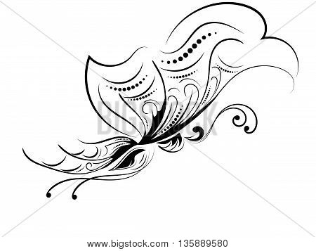 Curly pattern of a butterfly on a white background