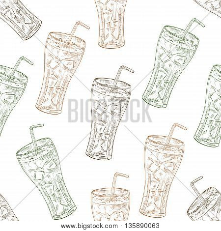 Seamless pattern scetch of three types of cola. Vector Background