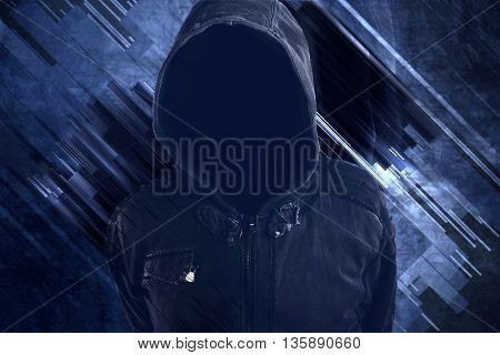 Unrecognizable hooded soccer hooligan portrait spooky faceless criminal person in jacket with hood