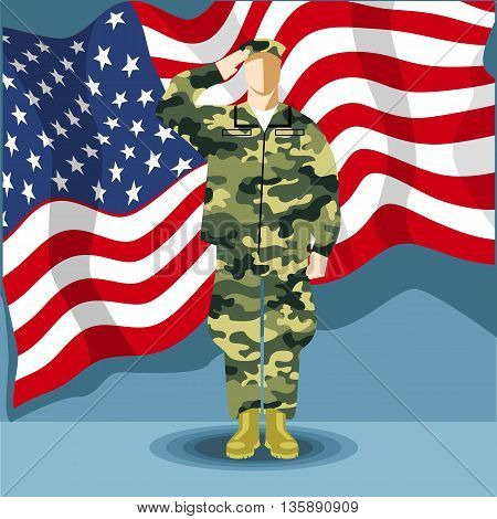 Happy fourth of july America independence day card with an army soldier and flag. Digital vector image