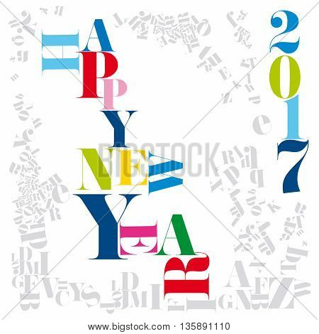 Colorful New Year numerals and typography set on a white background surrounded by numerous grey typefaces