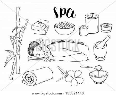Spa doodle hand drawn sketch icons set with towels aroma candles vector illustration.
