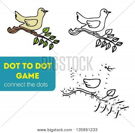 Dot to Dot Games for Children. Connect the dots to draw the animal educational game for children, bird vector illustration