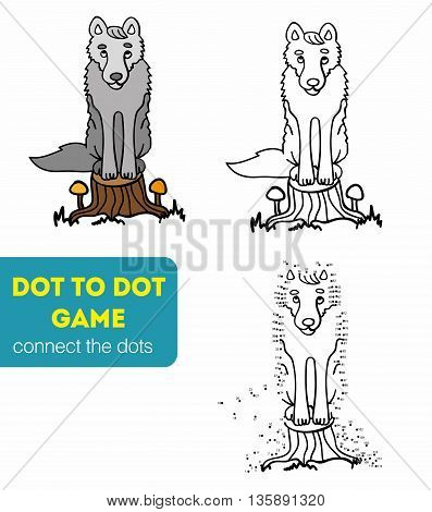 Dot to Dot Games for Children. Numbers game. Cartoon wolf. Vector illustration. Coloring and dot to dot educational game for kids.