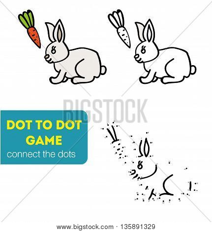 Dot to Dot Games for Children. Numbers game. Cartoon rabbit. Vector illustration. Connect the dots and colour the picture