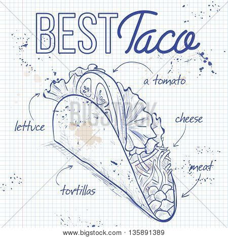 Vector illustration of Mexican taco recipe on a notebook page. Sketch style design.
