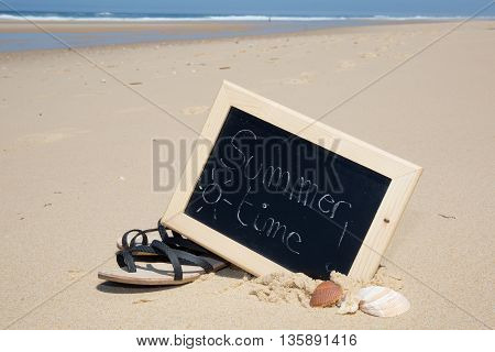 Summer Time Written With Chalk On A Blackboard