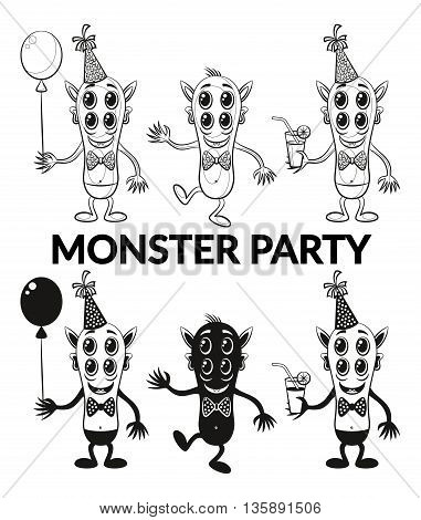 Set of Cartoon Toy Monsters, Black Contour and Silhouette Characters in Holiday Caps with Balloon and Juice, Smiling and Dancing, Elements for your Party Design and Prints, Isolated on White. Vector