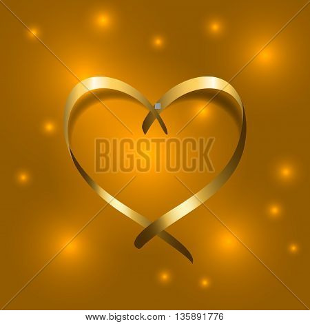Gold silk ribbon heart. Golden satin silhouette on shiny light background. Symbol of happy love romantic wedding. Valentine Day design template for banner invitation card poster Vector Illustration