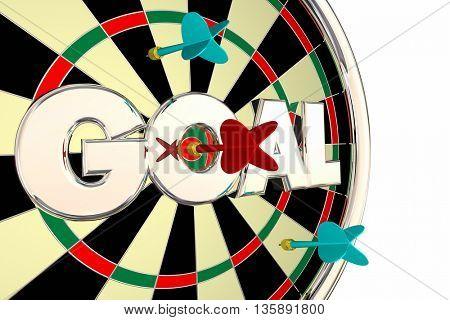 Goal Word Mission Objective Target Dart Board 3d Illustration