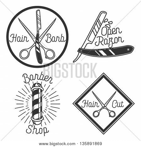 Vintage barbershop emblems. Brand barbershop, shop barber emblem, logo badge barber shop, label barber shop, business braber shop illustration