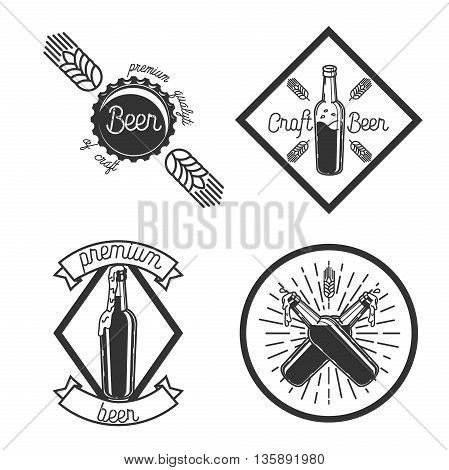 Vintage beer brewery emblems. Beer labels vector set. Beer badge, alcohol beer, lager beer bottle, beverage beer label illustration
