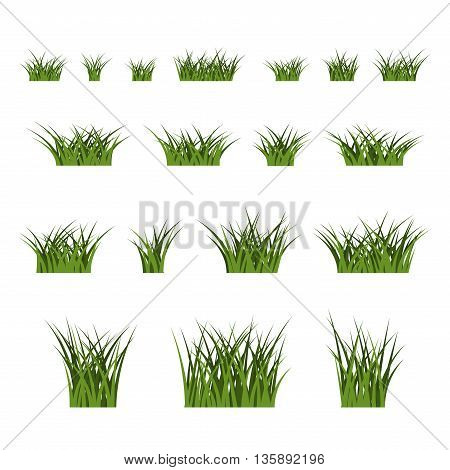 Green grass bushes set. Nature plant background. Collection silhouettes isolated on white. Symbol of field lawn spring and meadow fresh summer. Elements for design environment. Vector illustration