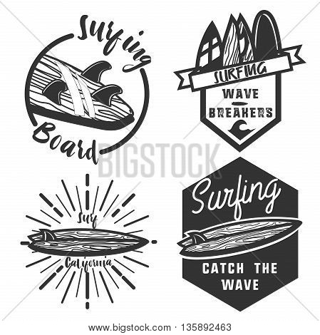 Vintage surfing emblems. Surfing Design. Tropical vector set Hand drawing silhouette.