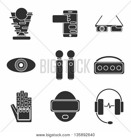 Virtual reality icon set. Vector illustration, EPS 10