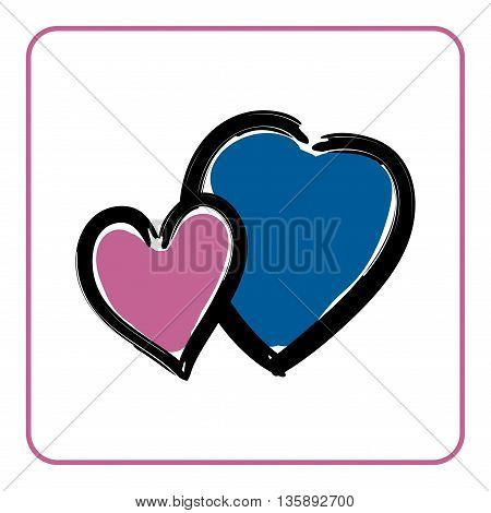 Two hearts icon. Brush texture shape sign isolated on white background. Symbol of romantic, love, passion. Drawing design element for Valentine day, holiday or greeting, decoration Vector illustration