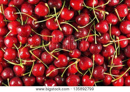 Cherries ripe texture close-up Cherries ripe fruit