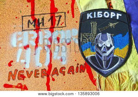 ILLUSTRATIVE EDITORIAL.Chevron Ukrainian nazionalist battalion .June 23,2016 in Kiev, Ukraine