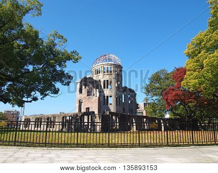 A-Bomb Dome, a historic building in Hiroshima, Japan.