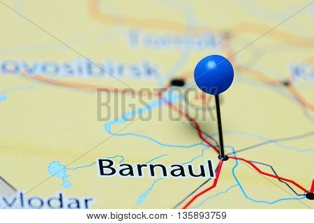 Barnaul pinned on a map of Russia