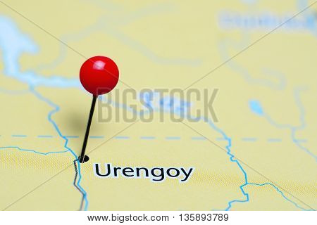 Urengoy pinned on a map of Russia