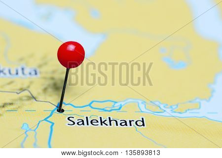 Salekhard pinned on a map of Russia