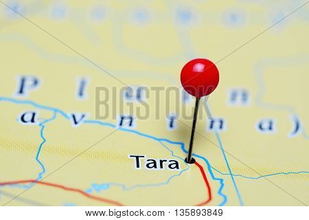 Tara pinned on a map of Russia