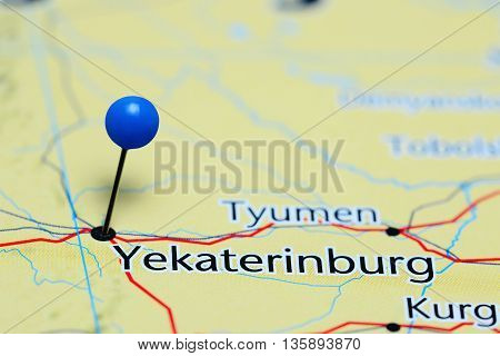 Yekaterinburg pinned on a map of Russia