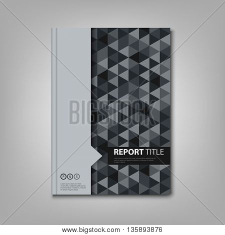 Brochures book or flyer with gray triangular pattern vector eps 10