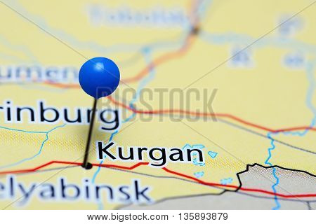 Kurgan pinned on a map of Russia