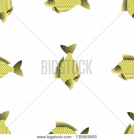 Fresh Carp Isolated on White Background. Seamless Fish Pattern