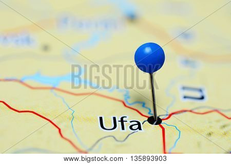 Ufa pinned on a map of Russia