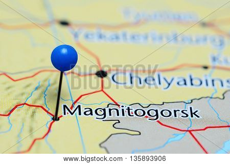 Magnitogorsk pinned on a map of Russia