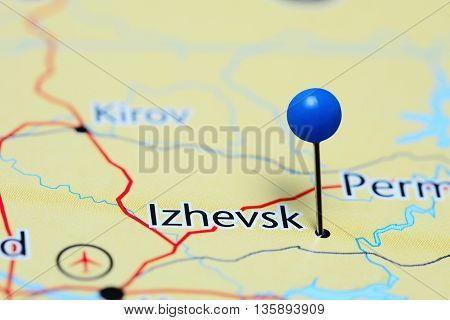 Izhevsk pinned on a map of Russia