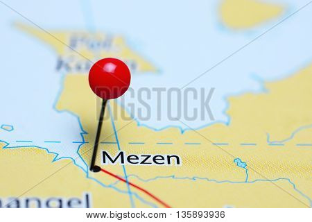 Mezen pinned on a map of Russia
