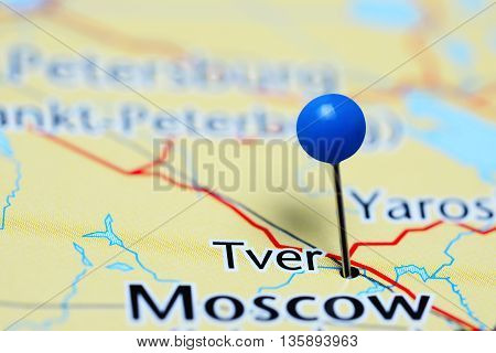 Tver pinned on a map of Russia