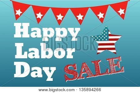 Happy labor day card United States of America. Celebrate labor day USA sale banner. Vector illustration poster.