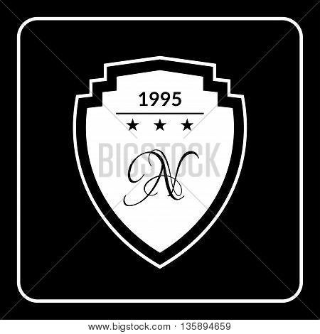 Shield emblem icon with stars, monogram. White sign silhouette isolated on black background. Symbol of protection, security. Guard heraldic label. Blank for logo design. Flat style Vector illustration