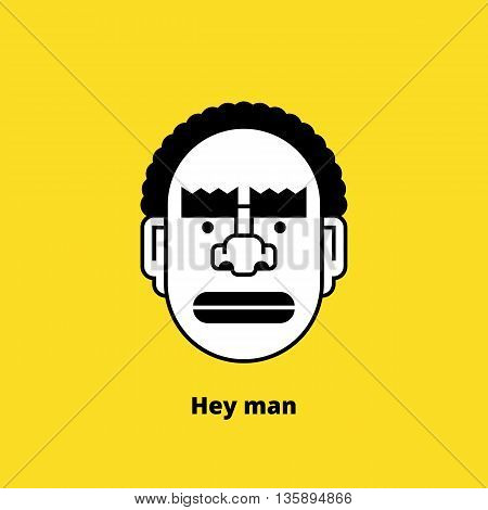 Character design black angry man. Retro design of avatar, t-shirt print, or logo. Stock vector illustration.