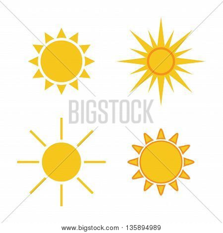 Sun icons set. Collection light yellow signs with sunbeam. Design elements, isolated on white background. Symbol of sunrise, heat, sunny and sunset, morning, sunlight. Flat style. Vector Illustration.
