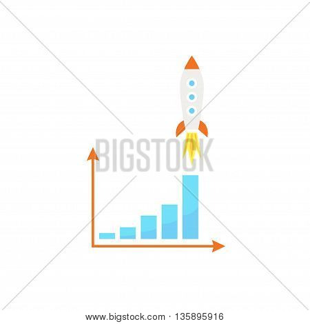 Rocket soars above the graph - vector illustration. Growth and development concept.