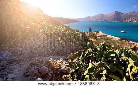Lovely view of the Mirabello Bay with the island-fortress of Spinalonga. Morning Dawn