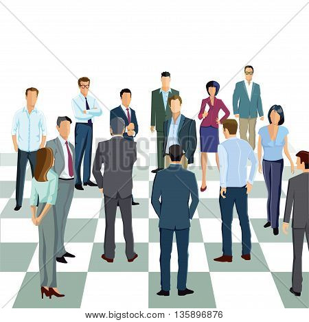 Business strategy, chess, line, checkerboard, businessman planning